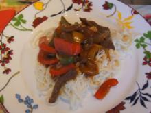 Rindfleisch mit Gemüse im Wok und Weizennudeln - Rezept - Bild Nr. 4649