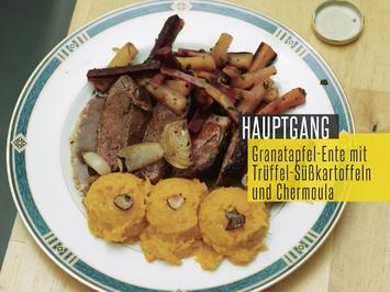 Gebratene Entenbrust mit Chermula-Möhren & Trüffel-Süßkartoffeln - Rezept - Bild Nr. 2