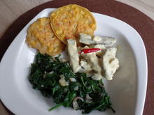 Filetspitzen mit Kokos-Curry Sauce , Maispuffer und Spinat - Rezept - Bild Nr. 4709