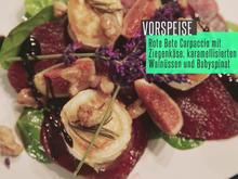 Rote Beete Carpaccio auf Blattspinat-Salat - Rezept - Bild Nr. 4723