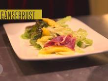 Salat mit Mango und Gänsebrust, dazu ein Gläschen Rosenkohlsuppe - Rezept - Bild Nr. 2