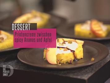 Rezept: Printencreme auf gegrillter Spicy Ananas mit Grillapfel, Kürbiskernöl und Pistazien