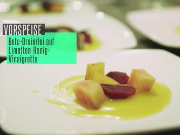 Rezept: Rote, gelbe und melierte Beete auf Honig-Limetten-Vinaigrette, dazu Knoblauch-Ciabatta