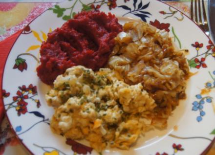 Falsches Hirn mit Rote-Bete-Süßkartoffel-Stampf und geschmorten Spitzkohl - Rezept - Bild Nr. 4777