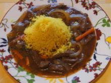 Rindfleisch mit Zwiebeln und Würzreis - Rezept - Bild Nr. 4893