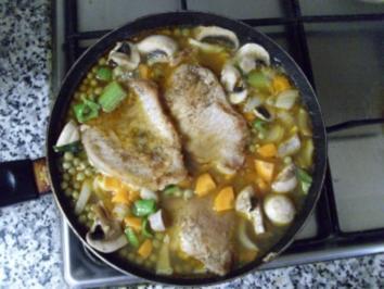 Schnitzelpfanne mit Champignons - Rezept