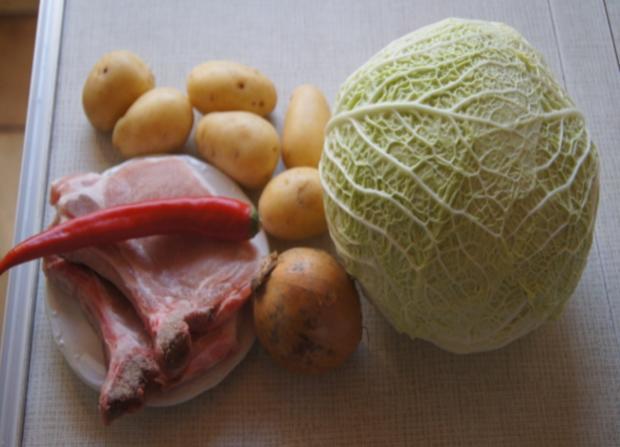 Kotelett mit Wirsing und Drillingen - Rezept - Bild Nr. 4940