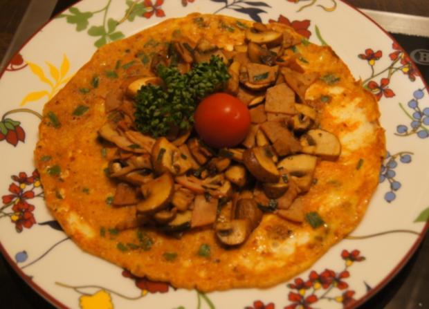 Omelett mit Champignons und Schinken - Rezept - Bild Nr. 4940
