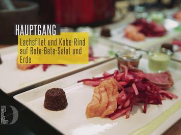 Rezept: Geflämmtes Kobe- und Lachsfilet auf Rote Beete-Apfel-Salat