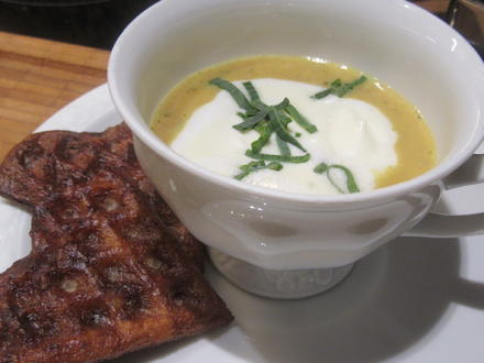 Suppen: Gemüse-Cappuccino mit lauwarmen Laugenwaffeln - Rezept - Bild Nr. 4955