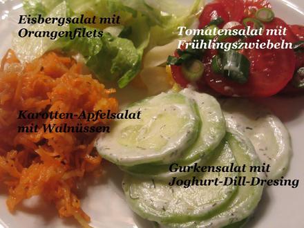 Salate: Salat-Quartett zum Schweizer Käse-Fondue - Rezept - Bild Nr. 4955