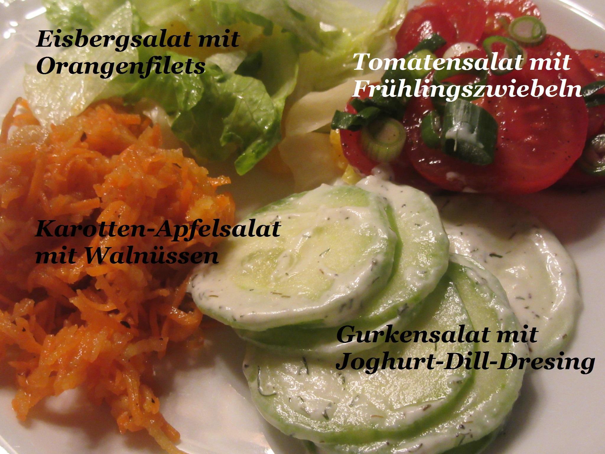 Salate: Salat-Quartett zum Schweizer Käse-Fondue - Rezept Durch lunapiena