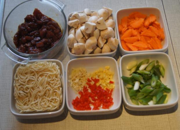 Rindfleisch mit Champignons und Mie-Nudeln im Wok - Rezept - Bild Nr. 4963