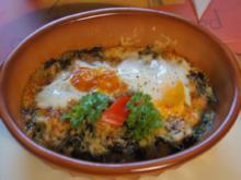 Gebackene Eier auf frischen Blattspinat - Rezept - Bild Nr. 4981