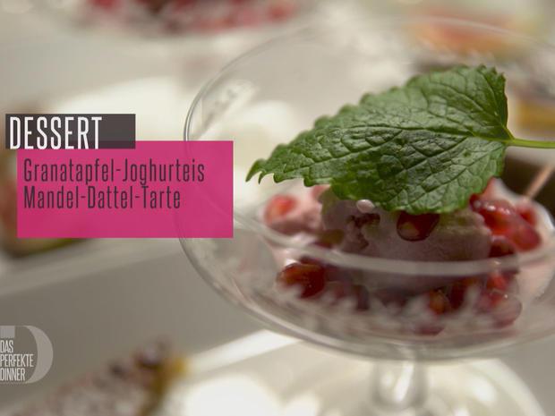 Hausgemachtes Joghurt-Granatapfeleis mit Dattel-Mandel-Tarte - Rezept - Bild Nr. 2