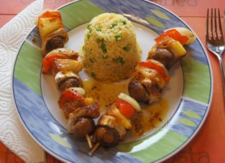 Putenbrust-Gemüse-Spieße mit Curry-Erbsen-Reis - Rezept - Bild Nr. 4991