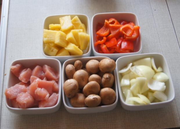 Putenbrust-Gemüse-Spieße mit Curry-Erbsen-Reis - Rezept - Bild Nr. 4993
