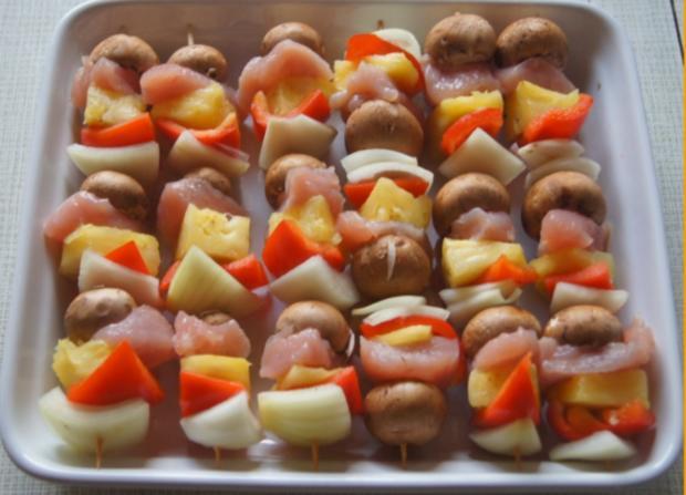 Putenbrust-Gemüse-Spieße mit Curry-Erbsen-Reis - Rezept - Bild Nr. 4994