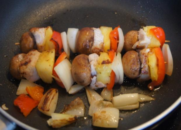 Putenbrust-Gemüse-Spieße mit Curry-Erbsen-Reis - Rezept - Bild Nr. 4996