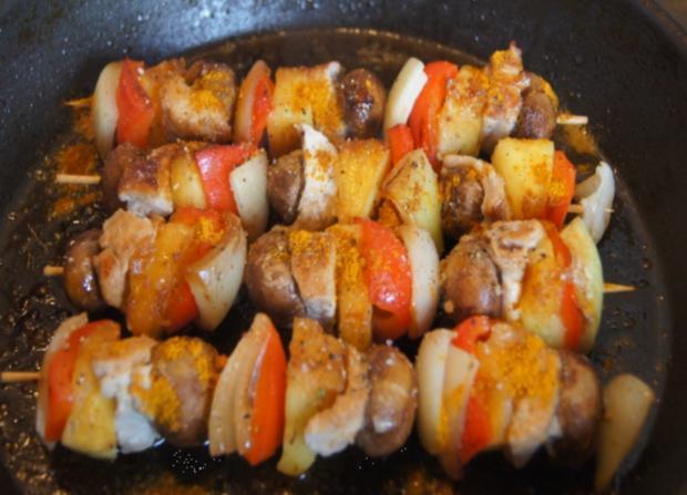 Putenbrust-Gemüse-Spieße mit Curry-Erbsen-Reis - Rezept - Bild Nr. 4999