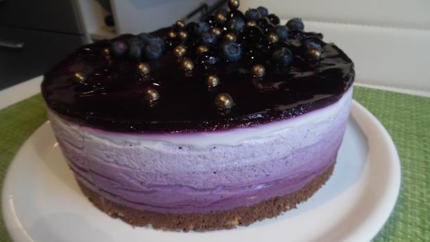 Ombre-Cheese-Cake mit Blaubeeren ohne Backen - Rezept - Bild Nr. 5004