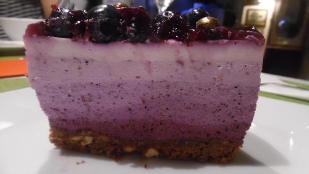 Ombre-Cheese-Cake mit Blaubeeren ohne Backen - Rezept - Bild Nr. 5005
