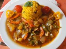 Putenbrust mit Gemüse süß sauer und gelben Gewürzreis - Rezept - Bild Nr. 5004