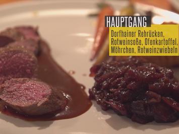 Rezept: Rehrücken mit Rotweinzwiebeln, Babymöhren und Parmesankartoffeln