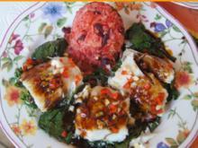 Gedämpftes Kabeljaufilet auf Spinatbett mit Sauce und roten Basmatireis - Rezept - Bild Nr. 5153
