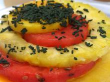 Türmchen von exotischem Obst mit Spirulina-Granulat - Rezept - Bild Nr. 5156