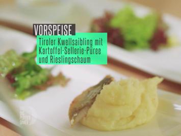 Rezept: Tiroler Kwellsaibling mit Kartoffel-Sellerie-Püree und Rieslingschaum