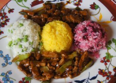 Rezept: Schweinefilet im Wok mit dreierlei Blumenkohl-Reis