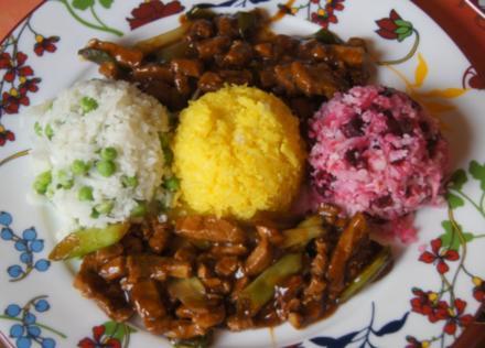 Schweinefilet im Wok mit dreierlei Blumenkohl-Reis - Rezept - Bild Nr. 5175