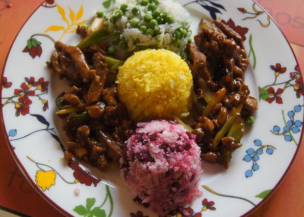 Schweinefilet im Wok mit dreierlei Blumenkohl-Reis - Rezept - Bild Nr. 5187