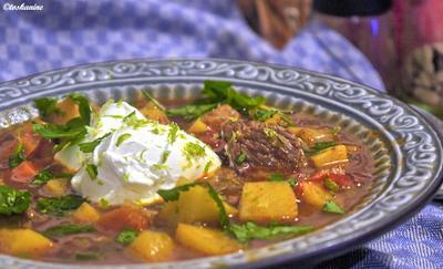 Rezept: Orientalischer Kartoffel-Gemüsetopf mit Rindfleisch