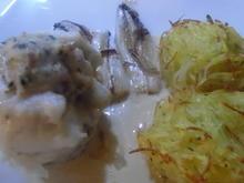 Zanderfilet-Röllchen gefüllt, Zitronen-Sahne-Soße und Julienne-Kartoffeln - Rezept - Bild Nr. 5216