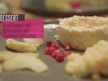 Grießflammeri mit gedünsteten Apfelspalten und Passionsfrucht-Sorbet - Rezept - Bild Nr. 2