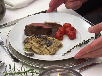Sous vide gegartes Filet mit Trüffel-Steinpilz-Risotto und karamellisierten Tomaten - Rezept - Bild Nr. 2