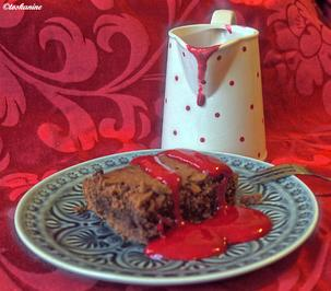 Beschwipste Brownies american style mit Himbeercoulis - Rezept - Bild Nr. 2