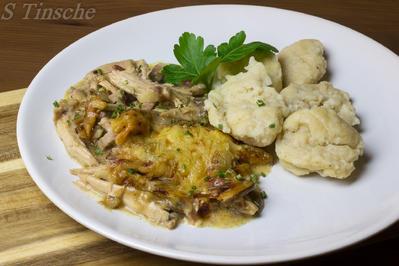 Champignon-Hähnchen mit Dinkelknöpfle - Rezept - Bild Nr. 5231