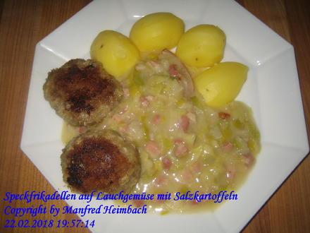 Fleisch – Speckfrikadellen auf Lauchgemüse mit Salzkartoffeln - Rezept - Bild Nr. 5247