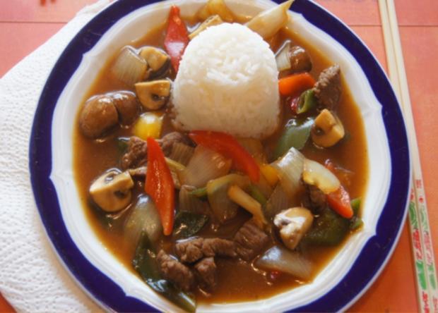Gebratenes Rindfleisch mit Gemüse, Austernsauce und Jasmin-Reis - Rezept - Bild Nr. 5248