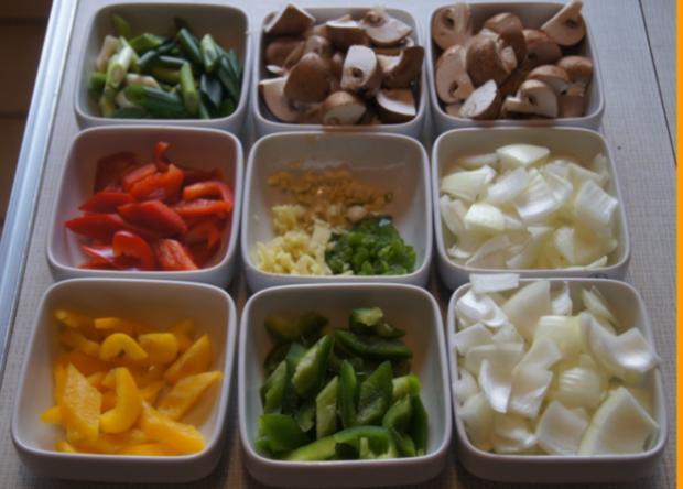 Gebratenes Rindfleisch mit Gemüse, Austernsauce und Jasmin-Reis - Rezept - Bild Nr. 5252
