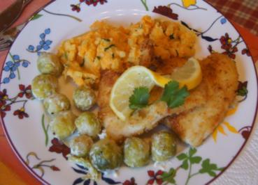 Pangasius-Filet mit Rosenkohl und pikanten Kartoffelstampf - Rezept - Bild Nr. 5253