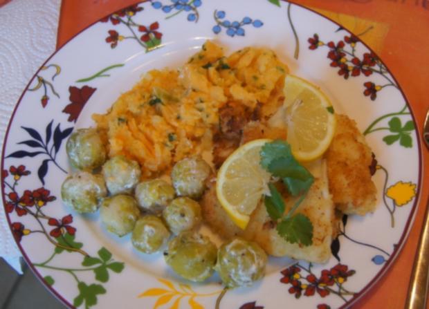Pangasius-Filet mit Rosenkohl und pikanten Kartoffelstampf - Rezept - Bild Nr. 5269