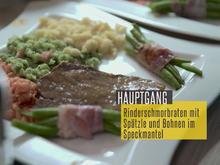 Klassischer Rinderschmorbraten mit dreifarbigen Spätzle und Bohnen im Speckmantel - Rezept - Bild Nr. 2