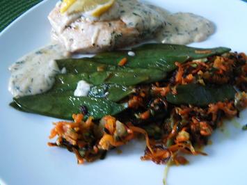 Gemüsespaghetti mit Lachs und einer Dill-Zitronen Soße - Rezept - Bild Nr. 5311