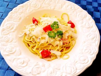 Knoblauch-Spaghetti mit Schinken und Pesto - Rezept - Bild Nr. 5323