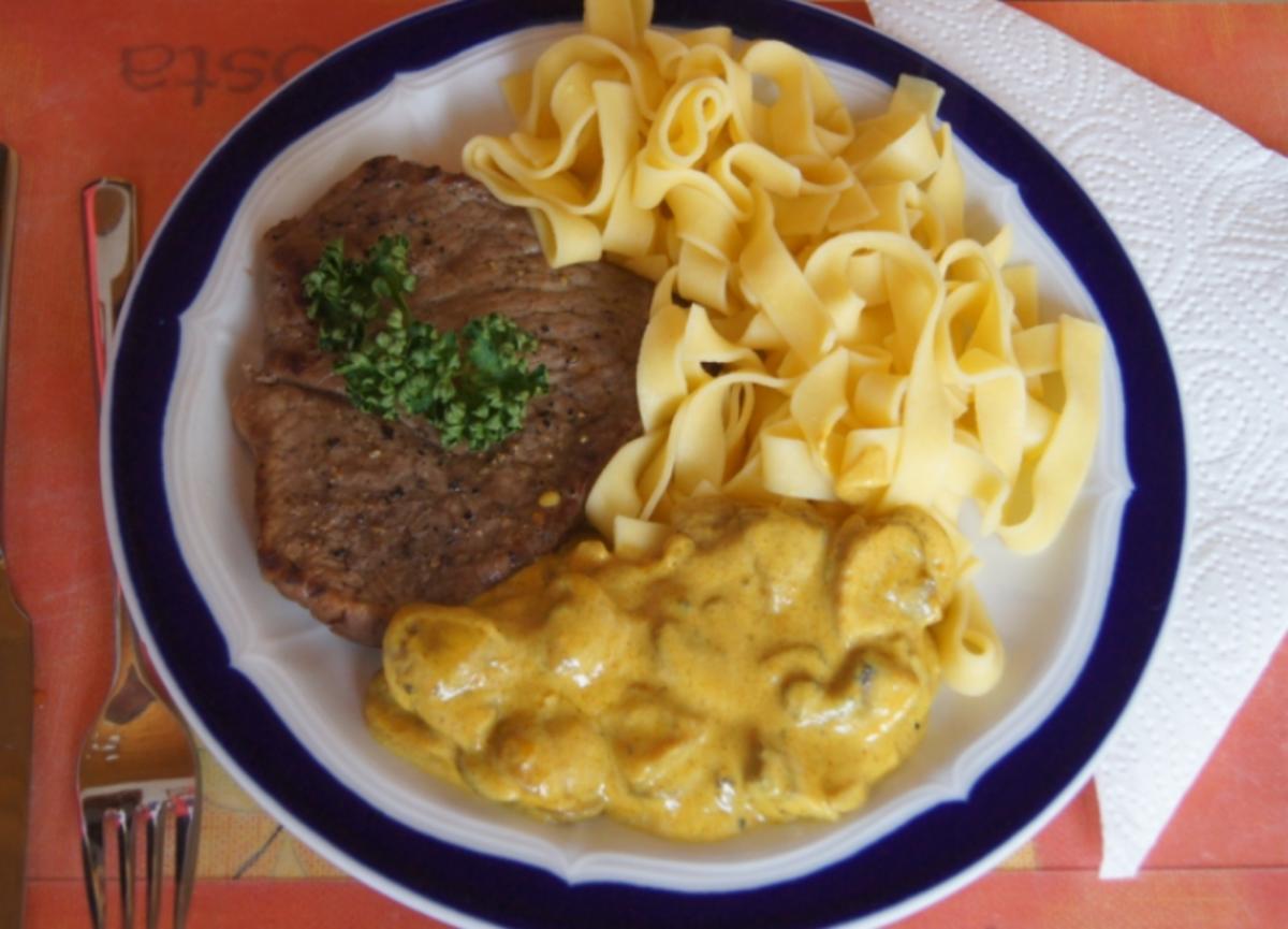 Bilder für Kalbsschnitzel mit Champignon-Curry-Rahm-Sauce und Bandnudeln - Rezept