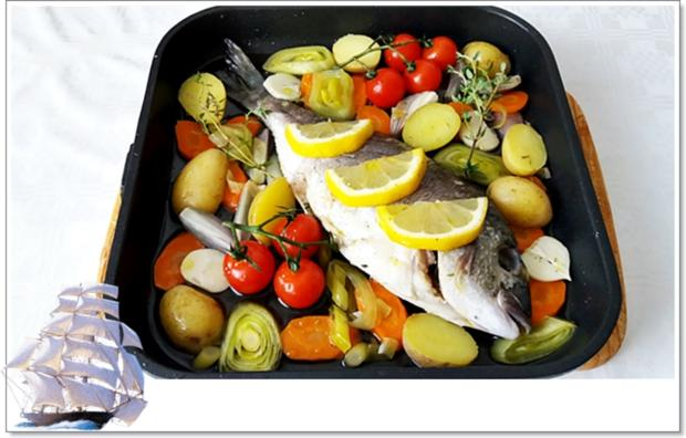 Gebackene Dorade aus dem Ofen, im Gemüsebett - Rezept - Bild Nr. 5354